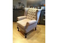 Laura Ashley Chesterfield armchair chai comfy grey