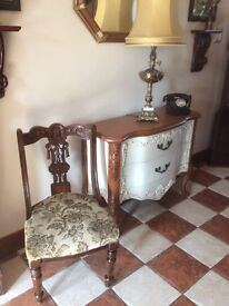 ANTIQUE GOOD SOLID CHAIR WITH Original BRASS CASTORS IN FANTASTIC CONDITION FOR AGE £60 ono