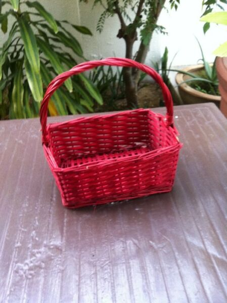 Red basket 33cm x 20x x 15cm in good condition.