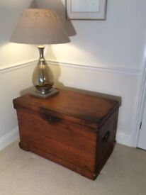 Antique vintage old large pine box trunk chest storage coffee table.