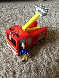 Fireman Sam and his fire engine
