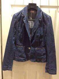 Kathryn C Denim Jeans & Swarovski JACKET 14UK