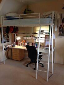 Single bunk loft bed with study desk