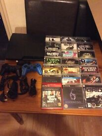 Sony PlayStation 3 PS3 console 160gb with 24 games and all cables and 2 controllers