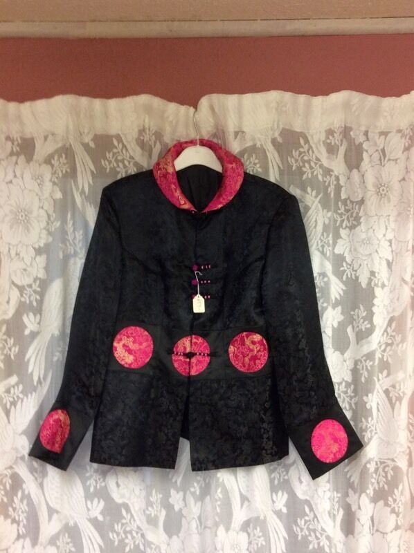 Exquisite Brand New Black Satin Brocade Jacket, size 10/12