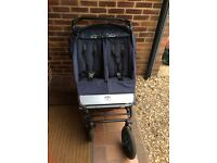 Navy Blue Double/Twin Urban Mountain Buggy Pushchair/Pram with Double Carrycot -MILTON KEYNES
