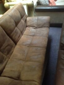 Suede Leather Sofa Bed