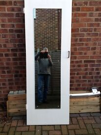 White internal door with mirror attached