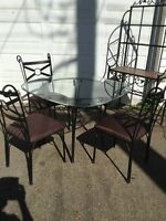 GLASS & METAL TABLE SET WITH BAKERS RACK.