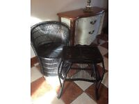 Vintage solid cane chair and table