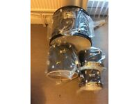 Black Premier drums only bass floor tom Tom and 2 hi tom toms with drum head new