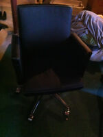 Leather Desk Chair on Wheels