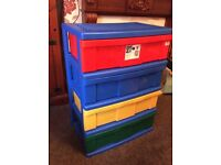 Wide large plastic 4 drawer unit kids storage etc