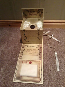"""Believe"" candle holder with original box and stationary"