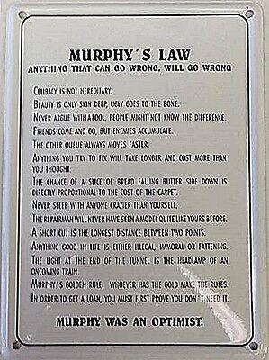 Murphy's Law miniature metal sign / postcard   (hi)