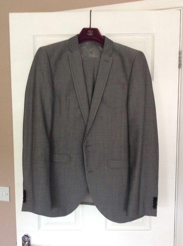 Men's Next light grey, slim fit, two piece suit, worn once for graduation.