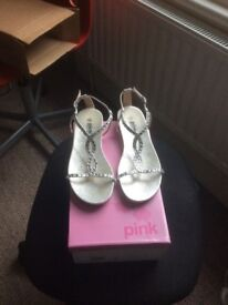 """Pink Paradox """"Kaylee"""" silver sandals size 5- worn once"""