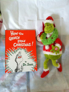 "▀▄▀Dr Seuss Book&Dr. Seuss Grinchy Claus18"" Sound Ligh Hallmark"
