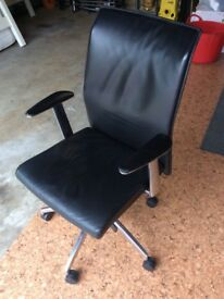 Leather office swivel and tilt chair black full leather