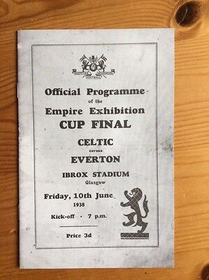 1938 Empire Exhibition Cup Final Celtic v Everton @ Rangers Collectors Programme