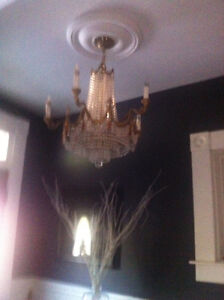 5 arm crowned solid brass crystal chandelier