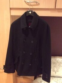 Mens Black military style coat from Zara in immaculate condition