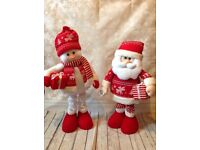 Christmas Red sparkly Santa and snowman plush figures 85cm