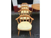 Set of four sturdy Pine captains dining chairs