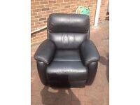 Black Leather armchair and sofa