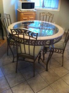 Marble Glass Table and Bakers Rack