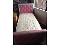 Girls pink and white dimante single bed with mattress and bedside cabinet