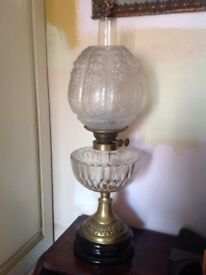 Antique etched and cut glass oil lamp