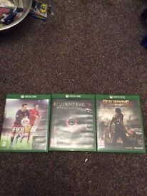 Fifa 16, resident evil 2, dead rising 3 for Xbox one.