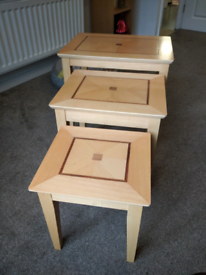 3 tier wooden nested tables