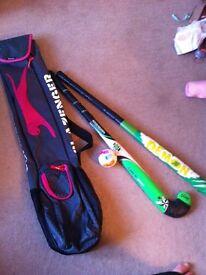 Junior hockey sticks and bag