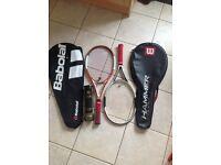 2 Wilson tennis racquets + a can of Wilson balls