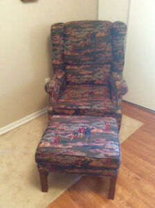 New price comfy wingback chair and footstool $70.00 OBO.