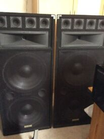 """2 Ekho speakers both have 2 x 15"""" drivers and horns"""