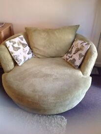 Large swivel cuddle sofa/chair,