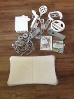 Wii board with Wii pieces & games