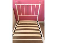 WHITE NEXT METAL SINGLE BED FRAME WITH CRYSTAL BALL POSTS