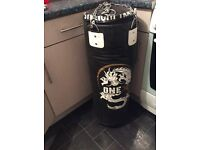 Punch bag with wall bracket mma gloves and York weights