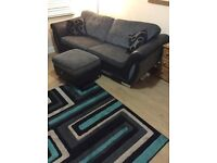 Dfs black and grey 3 seater sofa with foot seat
