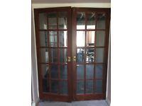 Brown internal french doors