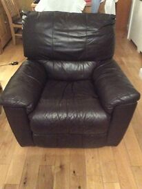 Brown leather recliner chair (electric)