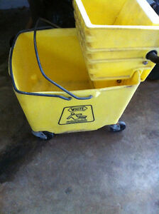 White Industrial mop bucket