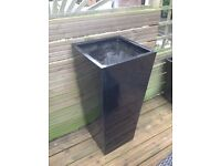 Black gel coat fibreglass statement planter 90cm tall
