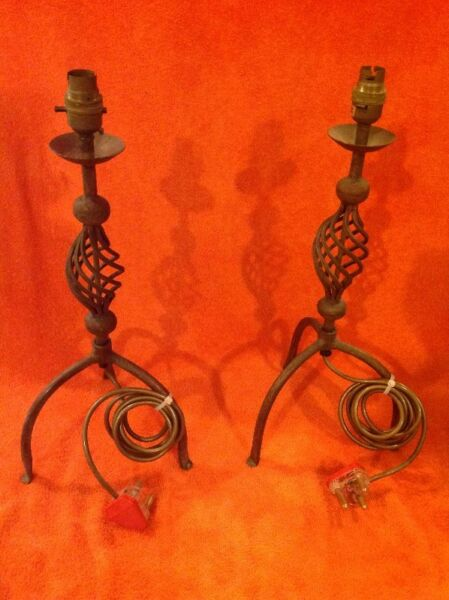 Two copper plated lamps
