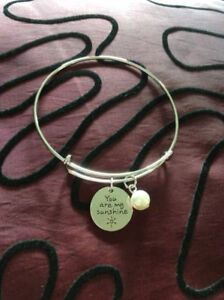 Bangle With Hand Stamped Charms - You are my sunshine
