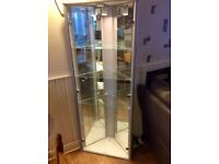 glass and wood trim corner display cabinet